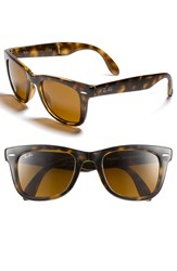 Ray Ban 'Folding Wayfarer' 50Mm Sunglasses Brown Flash