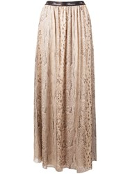 Blumarine Lace Panelled Skirt Neutrals