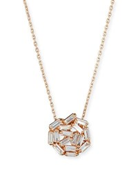 Suzanne Kalan Fireworks Baguette Diamond Pendant Necklace In 18K Rose Gold