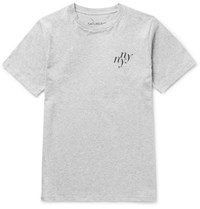 Saturdays Surf Nyc Ny Ny Slim Fit Printed Melange Cotton Jersey T Shirt Gray