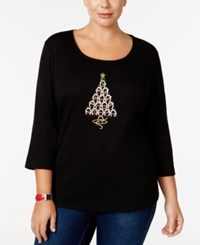 Karen Scott Plus Size Holiday Tree Graphic Top Only At Macy's Deep Black