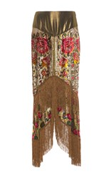 Anna Sui Garland Panel Fringe Skirt Gold