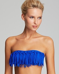 Lspace L Space Exclusive Knotted Dolly Fringe Bandeau Bikini Top Cobalt