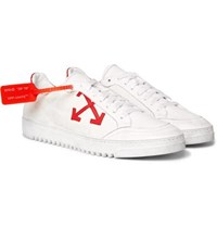 Off White 3.0 Polo Distressed Leather Trimmed Twill Sneakers White