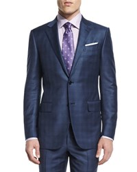 Ermenegildo Zegna Plaid Two Piece Wool Suit Blue