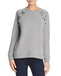 Aqua Lace Up Sleeve Sweatshirt 100 Exclusive Heather Gray