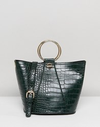 Liquorish Structured Tote Bag With Metal Handle And Optional Shoulder Strap Dark Green