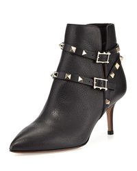 Valentino 65Mm Rockstud Ankle Strap Leather Bootie