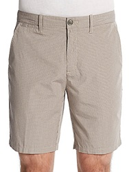 Saks Fifth Avenue Red Yarn Dyed Slim Fit Checked Shorts Taupe