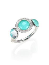 Ippolita Stella Turquoise Clear Quartz Diamond And Sterling Silver Three Stone Doublet Ring