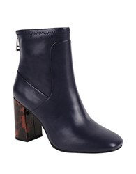 Charles By Charles David Trudy Leather Booties Navy Blue