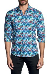 Jared Lang Brushstroke Print Sport Shirt Blue Multi