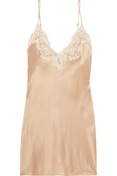 La Perla Maison Lace Trimmed Silk Blend Satin Chemise Gold