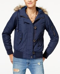 American Rag Juniors' Faux Fur Trim Bomber Jacket Created For Macy's Navy