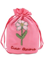 Giada Benincasa Lady Bug Flower Embellished Clutch Pink