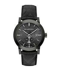 Burberry Stainless Steel Leather Strap Watch Black