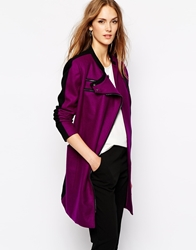 Y.A.S Colour Contrast Coat Grapejuice
