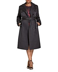 City Chic Classic Belted Trench Coat Black
