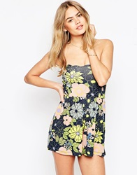 Asos Bandeau Scallop Playsuit In Retro Floral Print Multi