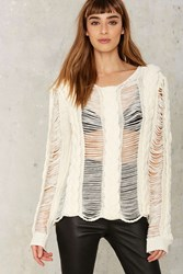 Asilio Tension Unfolds Cableknit Slash Sweater White