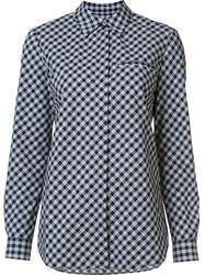 Lafayette 148 New York Chest Pocket Checked Shirt Blue