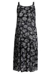 Evans Leaf Summer Dress Black