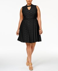 Ny Collection Plus Size Eyelet Fit And Flare Dress Noir Floradot