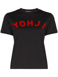 Y 3 Logo Short Sleeved T Shirt Black
