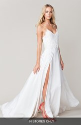Women's Sarah Seven Spaghetti Strap Lace And Crepe A Line Gown In Stores Only