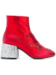 Maison Martin Margiela Mm6 Glittery Chunky Heel Boots Red
