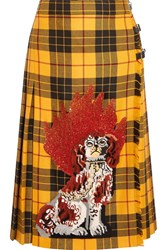Gucci Appliqued Plaid Wool Midi Skirt Yellow