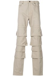Y Project Layered Straight Leg Jeans Nude And Neutrals