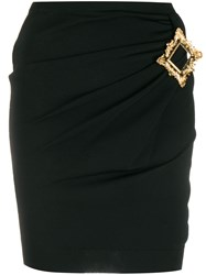 Moschino Gold Frame Fitted Mini Skirt Black