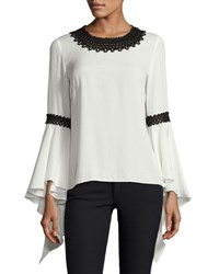 Andrew Gn Silk Blouse W Contrast Embroidery Cream