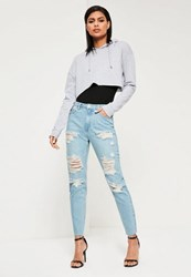 Missguided Blue High Waisted Ripped Mom Jeans