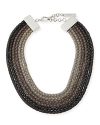 Lafayette 148 New York Mesh Net Beaded Statement Necklace Black Multi