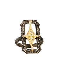 Armenta Old World Crivelli Scalloped Rectangle Ring With Diamonds Yellow Black