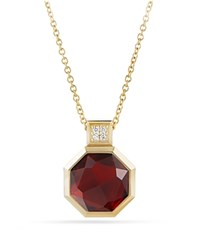 David Yurman Guilin Octagon Pendant Necklace With Garnet And Diamonds In 18K Gold Red Gold