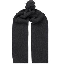 Anderson And Sheppard Ribbed Cashmere Scarf Charcoal