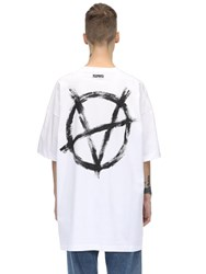Vetements Oversize Printed Cotton Jersey T Shirt White