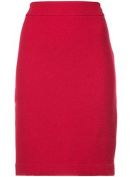 Emporio Armani Fitted Straight Skirt Red