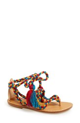 Women's Soludos Wraparound Tassel Tie Flat Sandal Red Teal Gold Rope