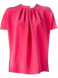 Gianluca Capannolo Batwing Pleated Front Blouse Pink And Purple
