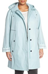 Plus Size Women's Gallery Plaid Trim A Line Hooded Raincoat