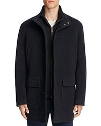 Cole Haan Wool Cashmere Car Coat Charcoal