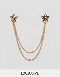 Reclaimed Vintage Star Collar Tips And Chain In Gold Gold