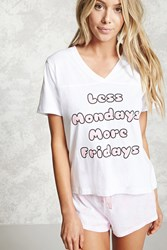Forever 21 Less Mondays Graphic Pj Set White Pink