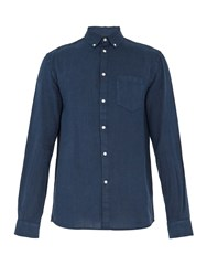 Solid And Striped The Button Down Linen Shirt Navy