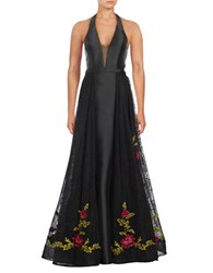 Basix Ii Floral Embellished Hem Ball Gown Black