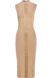 Balmain Ribbed Stretch Knit Midi Dress Camel